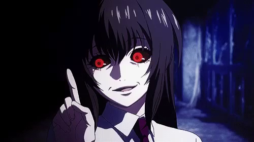 Scary anime girl with red eyes