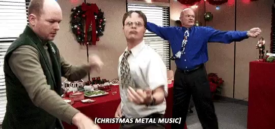 christmas metal music me office dwight gif christmasmetalmusic meofficedwight discover share gifs - The Office Christmas