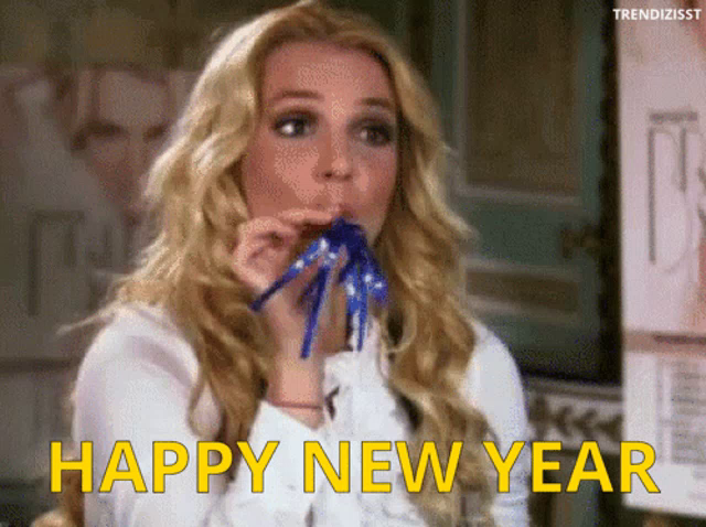 Happy New Year Party Horn GIF - HappyNewYear PartyHorn BritneySpears -  Discover & Share GIFs