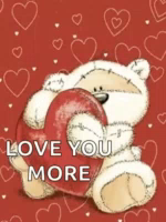 Love You More Teddy Bear GIF - LoveYouMore TeddyBear Hearts GIFs