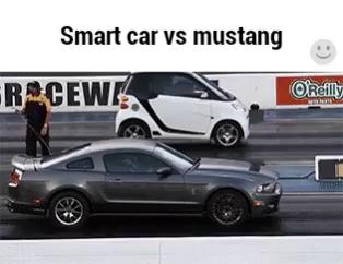 Smart Car Vs Mustang Gif Smartcar Smartcarvsmustang Discover Share Gifs