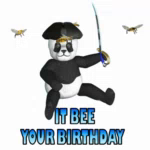 Happy Birthday Pirate Birthday Bees GIF - HappyBirthdayPirate BirthdayBees ItBeeYourBirthday GIFs