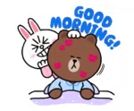 Brown Cony GIF - Brown Cony WakeUp GIFs